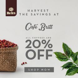 Harvest the savings at Café Britt, All coffees are 20% OFF. Pick Your Fave