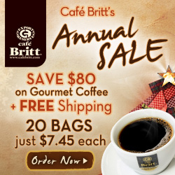 Cafe Britt's Annual Sale 250x250