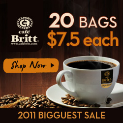 Don't miss Deals from Cafe Britt! A 100% Costa Rican Coffe Direct from the Plantation to you.