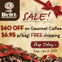 Cafe Britt End of the Year Sale! $60 OFF + Free Shipping - 125x125