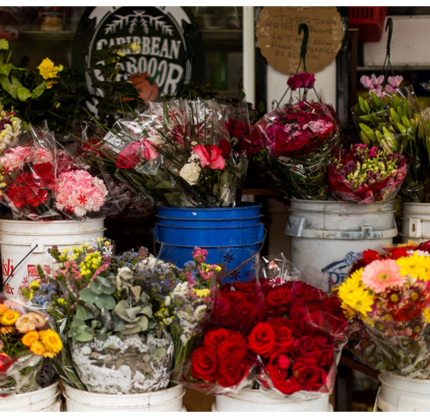 Fresh flowers in Tarrazu's local market