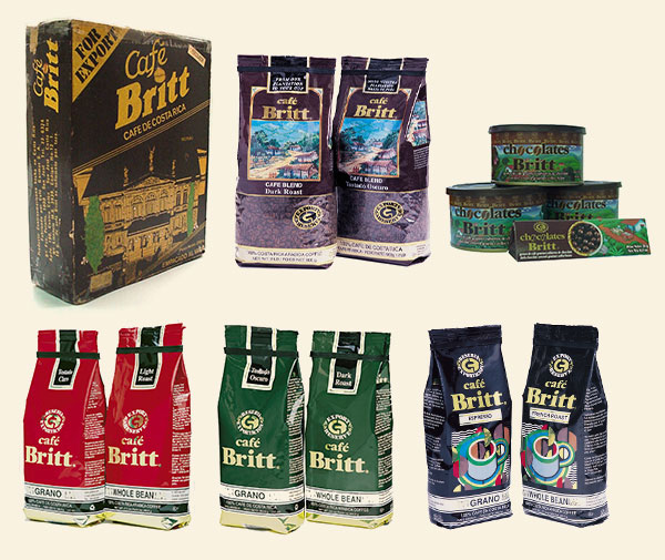 Cafe Britt packaging through the years