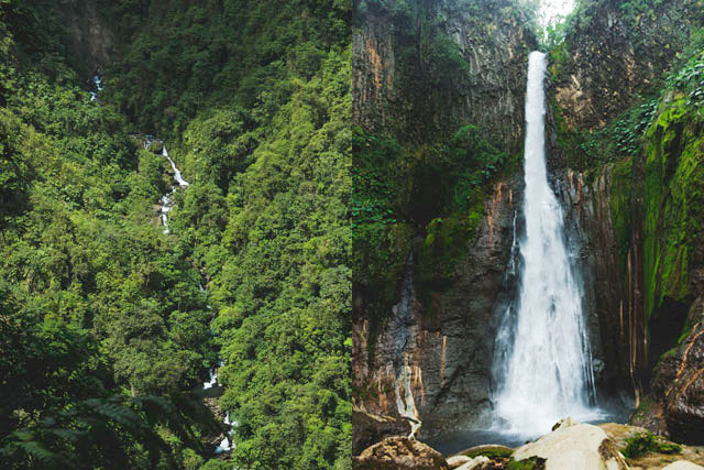 Two views of waterfall