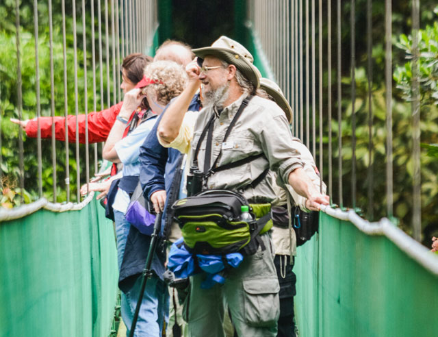 Tourists on a hanging bridge