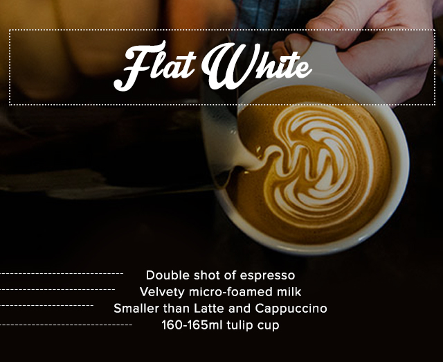Flat white and description in words