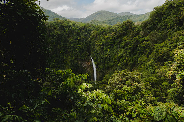 View of La Fortuna Waterfall and landscape