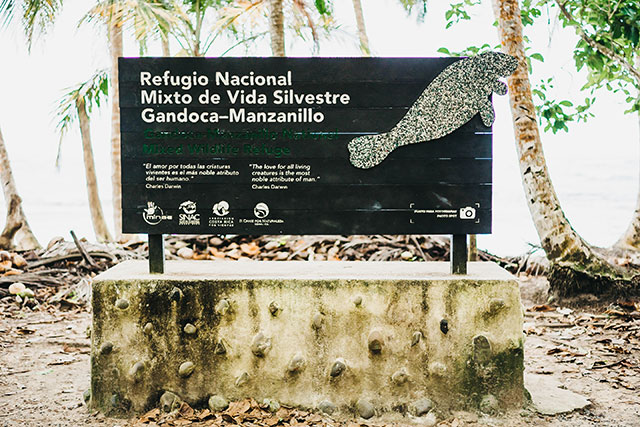 Entrance to Gandoca-Manzanillo Wildlife Refuge in Costa Rica