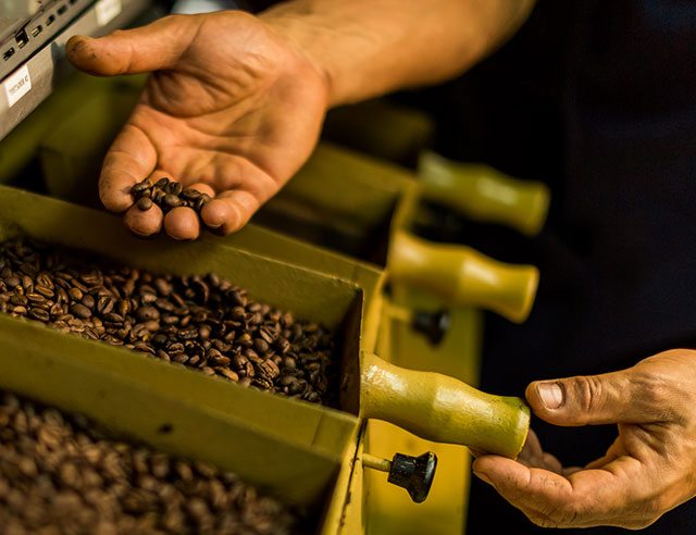 Man handing roasted coffee beans
