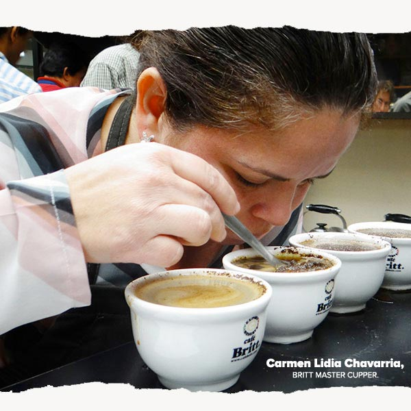 Woman cupping coffee