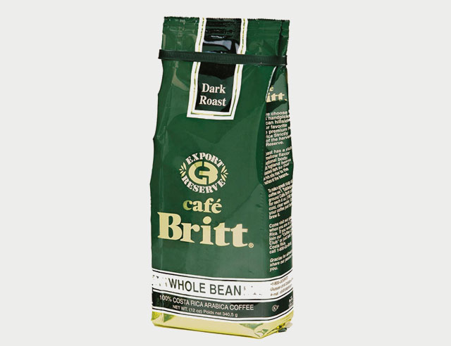 Cafe Britt Dark Roast, old packaging