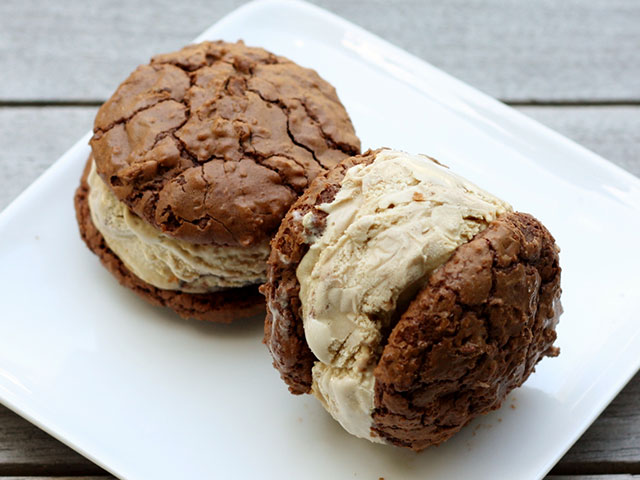 Two cookie ice cream sandwiches