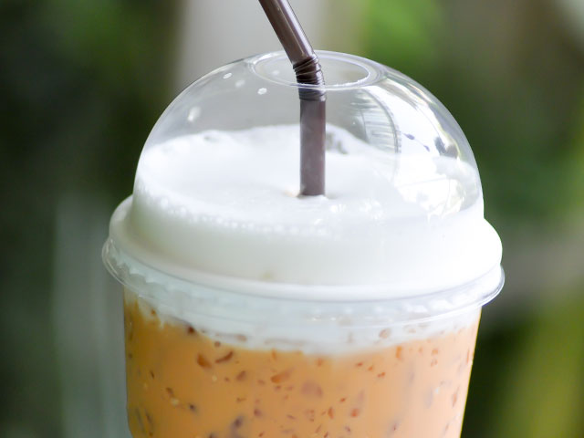 Frozen coffee drink in plastic cup
