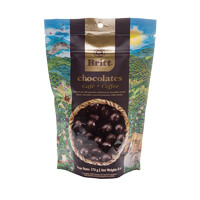 Dark chocolate covered coffee beans